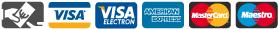 Métodos de pago: metálico, visa y visa electron, American express, Mastercard y Maestro